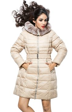 Find More Information about Snowimage VLASTA Plus Size Women Duck Down Coat Long Design Beige Winter Jacket With Fur Hood Removable Rex Rabbit Fur Cap Belt,High Quality coat material,China coat jacket Suppliers, Cheap jacket womens from Be 2 Boutique  on Aliexpress.com