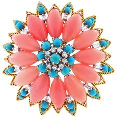 Gently Hued Coral Turquoise Diamond Brooch   From a unique collection of vintage brooches at https://www.1stdibs.com/jewelry/brooches/brooches/