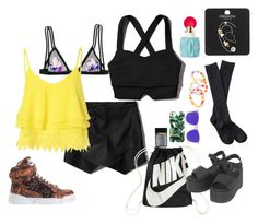 """""""let's go get kandi"""" by indraawr on Polyvore featuring Victoria's Secret, Abercrombie & Fitch, NIKE, Milly, Topshop, Dr. Martens, Xhilaration, Givenchy, Hollywood Mirror and Oakley"""