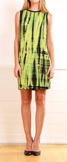 Proenza Schouler green and black tie dye tank dress