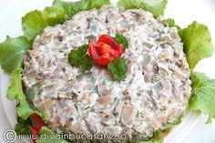 Salata de ciuperci cu limba de porc Salmon Burgers, Cobb Salad, Ethnic Recipes, Baby Shower, Drinks, Google, Recipes, Pork, Purple Cabbage