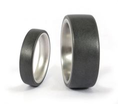 Set of two titanium and graphite wedding bands. Modern and unique grey rings. Water resistant, very durable and hypoallergenic. (01300_4N7N)