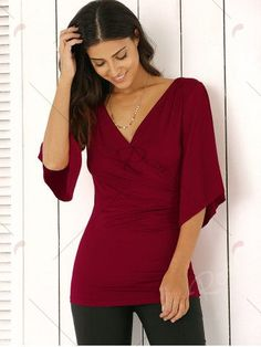 Wrap Plunge Neck Slimming Blouse - WINE RED L Mobile