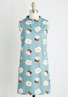 Meow You're Talking! Dress - Multi, Blue, Animal Print, Novelty Print, Print, Casual, Cats, Critters, Shift, Sleeveless, Woven, Short