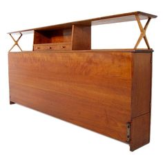 Renzo Rutili for Johnson Furniture Co. Cherry Headboard, 1950s, Built-In Cabinets on Side (No Need for Bedside Tables)