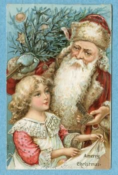 X0302 RARE Postcard Merry Christmas Santa in Red Girl in Pink | eBay