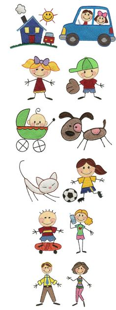 Embroidery - The Stix Family Free Machine Embroidery Designs, Applique Patterns, Applique Designs, Embroidery Applique, Doodle Drawings, Cartoon Drawings, Easy Drawings, Doodle Art, Drawing For Kids