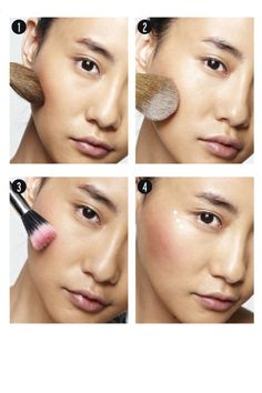 Contouring - Step 1: Using the top edge of a large brush, apply powder bronzer (a shade darker than skin tone) below the cheekbone.    Step 2: Use the flat side of the same brush to sweep translucent powder over the bronzer to set.    Step 3: Buff a matte powder blush over the apple of the cheek and along the cheekbone.    Step 4: Dot highlighter, such as Benefit High Beam, along the upper cheekbone and blend for a dewy glow.
