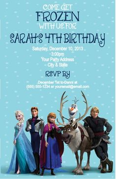 Frozen Birthday Party Invitations Custom by DannisCuteCreations, $1.25