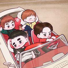 <credits to owner> Exo Xiumin, Kpop Exo, Exo Cartoon, Exo Stickers, Exo Anime, Exo Fan Art, Exo Lockscreen, Kpop Drawings, Game Concept Art