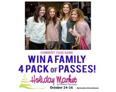 WIN 4 PASSES to Holiday Market this weekend at the Agricenter.. Just comment your name for a chance to win!