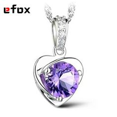 High Quality Classic Amethyst Silver Plated Charms Gifts Natural Purple AAA Cubic Zirconia Lovely Heart-Shaped Pendants