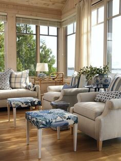 Here are some ideas for decorating a beach house, or an urban home with beachy elements, including blue, white, seafoam green, grey and sand tones...