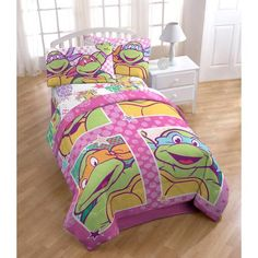 How awesome is this? Girl TMNT bedding! Nickelodeon Teenage Mutant Ninja Turtles I Love TMNT Twin/Full Bedding Comforter, Pink