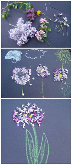 Beautiful sensory art using flowers and natural items -- kids can feel and smell as they create!