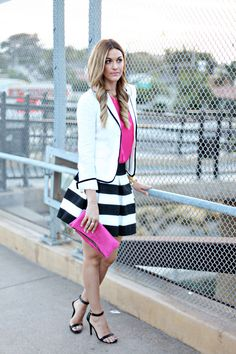 Pop of Pink  --  Honey Punch Skirt c/o Lulus   //  Victoria Khoss Clutch c/o  //  Joie Top  //  J.Crew Blazer  //  Steve Madden Heels  //  Poppy Earrings c/o  //  Tryst Arrow Necklace  //  Dogearred Necklace  //  J.Crew Bracelet  //  Kate Spade Watch  //  Emitations Bracelet //  YSL Lipstick (#9)