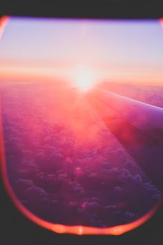 Pretty pink sunset from the plane <3