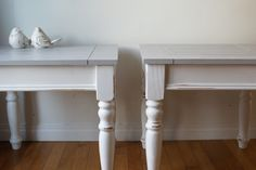shabby chic side tables in white  #paintedfurniture #diy #shabbychic #tables #anniesloan  #chalkpaint www.facebook.com/2ndhomefurnishings Shabby Chic Side Table, Annie Sloan, Side Tables, Chalk Paint, Home Furnishings, Painted Furniture, Facebook, Diy, Home Decor