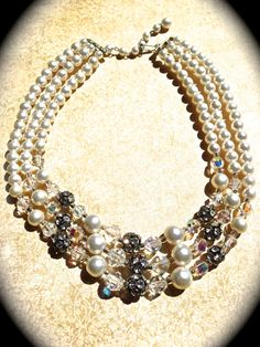 Stunning 3 strand pearl and crystal bib by JNPVintageJewelry
