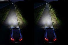 Srovnání klasických světel a technologie Laser Light, kterou využívá BMW i8.