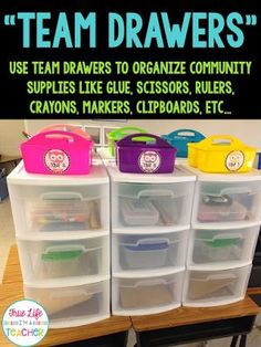 I really enjoy the idea of keeping team storage areas as an alternative to the hot mess student desk situation! This will also free up table/shelf space in the room!