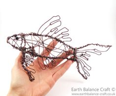 Koi Carp Wire Sculpture - Free form wire wrapped design outlining the delicate curves of the koi carp fish by Nicola of Earth Balance Craft.