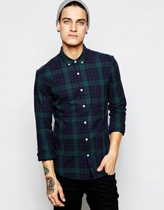 ASOS Shirt In Skinny Fit With Blackwatch Check And Long Sleeves