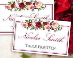 Printable wedding place card template floral roses pattern by Oxee, DIY, editable, Word
