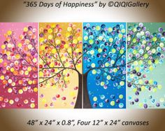 Original acrylic painting large abstract tree by QiQiGallery