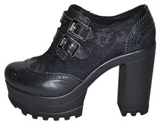 Steelground Rapture 102 Black Grain Leather Ankle Boot with Over Lace and Twin Buckles
