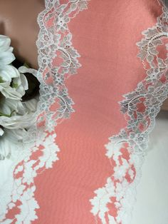 Peach and metallic stretch lace trim with white edges by the | Etsy Lace Trim Shorts, May 7th, Stretch Lace, Stretches, To My Daughter, Metallic, Peach, Wedding Dresses, Yard