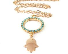 Collier turquoise hamsa, 14K Goldfiled hamsa, pendentif Hamsa, bijoux de demoiselle d'honneur, collier de charme, hamsa or, bijoux en cristal