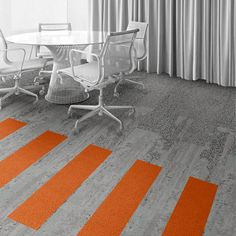 Interface Floor Design    | HN840: Limestone, HN810: Limestone, HN850: Limestone, HN830: Clementine |    Find inspiration for your next interior design project with floors composed of modular carpet tiles from Interface