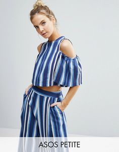 Buy it now. ASOS PETITE Cold Shoulder Top in Blue Stripe Co-Ord - Multi. Petite top by ASOS PETITE, Woven fabric, Cold-shoulder neckline, Zip back closure, Cropped cut, Relaxed fit, Machine wash, 86% Polyester, 14% Viscose, Our model wears a UK 8/EU 36/US 4. ABOUT ASOS PETITE 5�3�/1.60m and under? The London-based design team behind ASOS PETITE take all your fashion faves and cut them down to size. Say goodbye to all your short-girl problems with our perfectly proportioned denim, day-to-n...