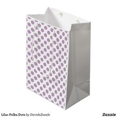 Lilac Polka Dots Gift Bag This design is available on many products! Click the 'available on' tab near the product description to see them all! Thanks for looking!  @zazzle #art #polka #dots #pattern #wrapping #paper #gift #bag #tag #birthday #holiday #color #black #white #blue #green #orange #yellow #purple #aqua #shop #buy #fun #chic #wrap #modern #classic #simple #easy #design #tag #ribbon #tissue
