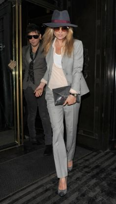 25 Shades Of Grey Women Office Wear Ideas | The hat is not needed. The rule is to match pick with grey :)