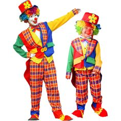 Umorden Halloween Carnival Occasion Costumes Father Dad and Son Circus Clown on the City Costume Plaid Cosplay Garments Set Clown Halloween Costumes, Circus Costume, Circus Clown, Holiday Costumes, Halloween Carnival, Halloween Dress, Party Costumes, Carnival Themed Party, Cosplay Outfits