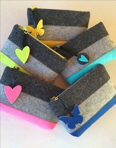 Makeup Bag - Pencil Case - Cell Phone Bag - Felt Pouch - Zipper Wallet - Storage Pouch - Felt Make Up Bag - Christmas Gift - Girl Gift by ShansBag on Etsy