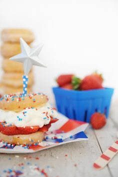 Easy Strawberry Shortcake Recipe : Perfect for Summer  Donuts, Whipped Cream and Strawberries come together and are topped with sprinkles for a perfect summertime treat.