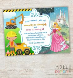Construction And Sleeping Beauty Birthday Invitation For Twins Siblings Or Those Who Want
