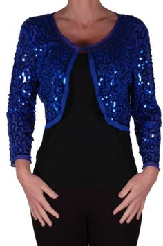 EyeCatch - Scarlett Sequin Chiffon Long Sleeve Top Bolero Shrug ...