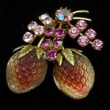 Fruit Pin Vintage Austria Brooch 2 Strawberries