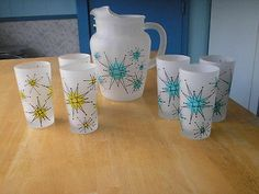 VINTAGE GAY FAD FRANCISCAN STARBURST FROSTED PITCHER & 6 GLASSES/TUMBLERS-NICE