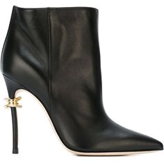 Dsquared2 Babe Wire Ankle Boots ($577) ❤ liked on Polyvore featuring shoes, boots, ankle booties, black, black ankle bootie, black stilettos, black boots, high heels stilettos and black bootie boots