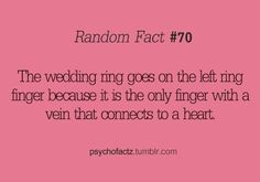 I didnt know this, but come to think of it, it makes marriage all the more romantic :) Weird Facts, Fun Facts, Random Facts, Crazy Facts, Random Stuff, Great Quotes, Quotes To Live By, My Sun And Stars, Thing 1