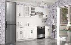 Michelle - Kuchyňský blok, 200/260 cm (bílá,černá úchytka) | Jena nábytek