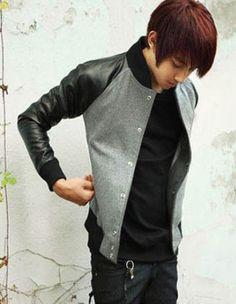 Wish | Gray Hot Sale Korean Men's Fashion Casual Spliced Faux Leather Jackets M/L/XL/XXL 328-Y04-55-Gray