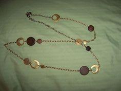 Lia Sophia Goldtone and wood disk Chain  Necklace 36 inch #liasophia #Pendant