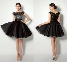 Petite Prom Dresses Biggest Discount 2015 Real Pictures In Stock Prom Evening Dresses Scoop Neck Mini Short Crystal Black Tulle Party Dresses Short Strapless Prom Dresses From Weddingpalace, $102.62| Dhgate.Com