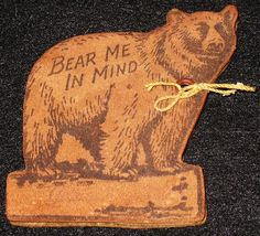 Antique Suede Bear Pen Wipe, Yellowstone Souvenir, Brown Felt Interior